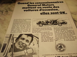 ANCIENNE PUBLICITE VOITURE OCCASION DE GENERAL MOTORS 1968 - Voitures