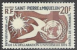 St Pierre Et Miquelon  1958   Sc#356   Human Rights  MLH   2016 Scott Value $3.50 - St.Pierre & Miquelon