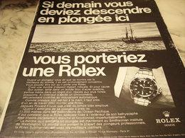 ANCIENNE PUBLICITE  MONTRE ROLEX  ET PLONGEE 1968 - Bijoux & Horlogerie