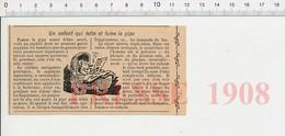Presse 1908 Un Enfant Qui Tête Le Lait Maternel à 10 Ans Et Qui Fume La Pipe Esquimaux Voyage Amundsen Allaitement216E10 - Old Paper