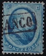 1864 Koning Willem III 5 Cent Blauw Haarlemse Druk Plaat I NVPH 4 B I - Gebruikt