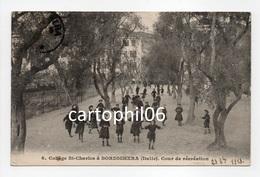 - CPA BORDIGHERA (Italie) - Collège St-Charles 1913 - Cour De Récréation (belle Animation) - Photo GILETTA N° 6 - - Italie