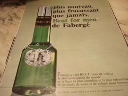 ANCIENNE   PUBLICITE PARFUM BRUT FOR MEN  DE FABERGE 1968 - Perfume & Beauty