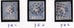 1867 Koning Willem III 5 Cent Blauw 3 Tandingen Type II NVPH 7 II C-D-E - Used Stamps