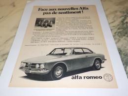 ANCIENNE PUBLICITE FACE AUX NOUVELLES UNE ALFA 1968 - Voitures