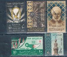 Egipto 1965  -  Yvert 639 + 640 + 641 + 649 + 650  ( Usados ) - Egipto
