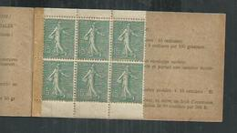 France . Carnet Semeuse 15 Cts No 130-C2 Incomplet ;les 6 Timbres Sont ** - Carnets