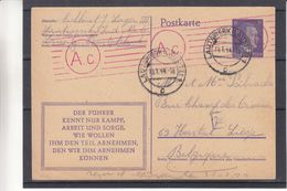 Allemagne - Empire - Carte Postale De 1944 - Entiers Postaux - Oblit Lautawerk Lausitz - Exp Vers Liège - Avec Censure - Allemagne