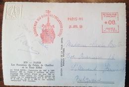CP. 2391.  Souvenir Du Sommet De La Tour Eiffel Le 25 Juillet 1959 Sur CP De La Tour Eiffel - EMA (Printer Machine)