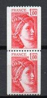 - FRANCE Variété N° 1972 ** - Paire 1 F. Rouge Type Sabine Roulettes - 3 BANDES DE PHOSPHORE + NUMÉRO ROUGE - - Variétés Et Curiosités