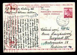 BÖHMEN & M. - 1942 - 1,50 K. Ganzsache (P 3) Ab Cercany Nach Serbien - Zensur - Occupation 1938-45