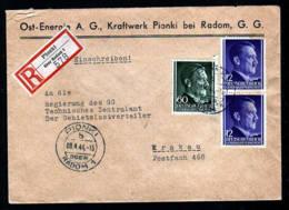 GENERALGOUVERNEMENT: - 1944 - Einschreibbrief Ab PIONKI über Radom Nach Krakau - Occupation 1938-45