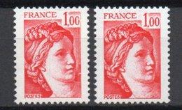 - FRANCE Variété N° 1972 ** - 1 F. Rouge Type Sabine - BANDES DE PHOSPHORE A CHEVAL JAUNE VIF + BLANC EXTRA PÂLE - - Variétés Et Curiosités