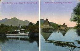 German New Guinea, Rheno-Westfalia Boat, Stilt Houses (1918) Mission Postcard - Papouasie-Nouvelle-Guinée
