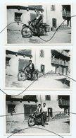 3 PHOTOS ANIMÉES . Ancienne Moto. Personnages Assis Sur Une Moto. Immatriculation 7770 AA 69 - Automobiles