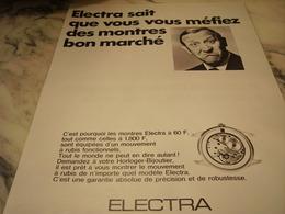 ANCIENNE PUBLICITE MONTRE ELECTRA 1968 - Publicités