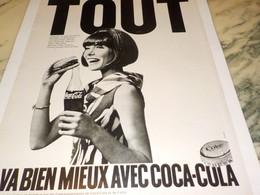 ANCIENNE PUBLICITE TOUT VA BIEN MIEUX AVEC   COCA COLA 1968 - Publicités
