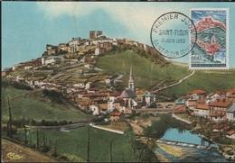 FDC35 - FRANCE N° 1392 Saint Flour Sur Carte Maximum 1963 - Cartes-Maximum