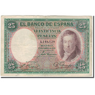 Billet, Espagne, 25 Pesetas, 1931, 1931-04-25, KM:81, TB - [ 1] …-1931 : Premiers Billets (Banco De España)