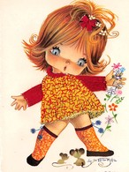 Carte Brodée (Robe Et Ruban) - Petit Fille - Souris - Illustrateur Gallarda - Brodées
