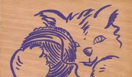 Carte En Bois - Chat Jouant Avec Pelote De Laine - Illustrateur Plaidet - Cartes Postales