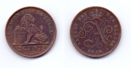 Belgium 2 Centimes 1919 (legend In French) - 02. 2 Centimes