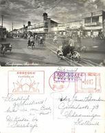 Indonesia, JAVA SOERABAIA, Tundjungan, Rickshaw (1956) Red Cancel, Postcard - Indonesië