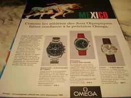 ANCIENNE PUBLICITE MEXICO ET  MONTRE OMEGA 1968 - Bijoux & Horlogerie