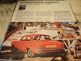 ANCIENNE PUBLICITE ESPRIT DE COMPETITION  FORD ESCORT 1968 - Voitures