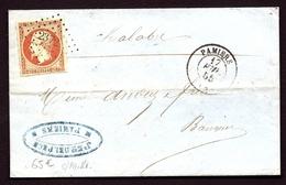 LET2- LETTRE ANCIENNE DE PAMIERS- EMPIRE N° 16d ORANGE SUR PAILLE TTB- CAD T.15 DE 1855-   4 SCANS - Marcophilie (Lettres)