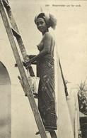 Indonesia, BALI, Topless Nude Native Woman Whitewashing Wall (1910s) Postcard - Indonesia