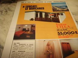 ANCIENNE PUBLICITE VOTRE VILLA BARCARES OU  PORT LEUCATE 1968 - Publicités