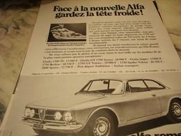 ANCIENNE PUBLICITE FACE AUX NOUVELLES UNE ALFA 1968 - Publicités