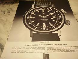 ANCIENNE PUBLICITE TOUJOURS EN AVANCE  MONTRE LIP  1968 - Bijoux & Horlogerie
