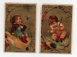 CHROMO Dorée Chocolat Devinck Testu & Massin Enfant Toile D'araignée Scarabée (2 Chromos) - Schokolade