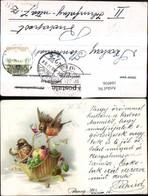 104936,Litho Tiere Vögel M. Korb Obstkorb Weinglas - Tierwelt & Fauna