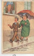 """Couple Passant Sous Une Fenêtre. Dame Lave Les Carreaux: """"Je Pense Que Le Ciel S'illumine"""". - Humour"""