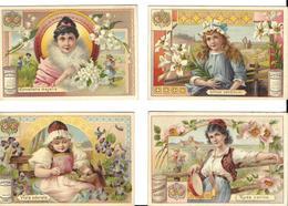 Images-Chromos>Chocolat SUCHARD  Lot 4 Images -scan R/V CONVALLARIA MAJALIS- LILIUM CANDIDUM-VIOLA ODORATA-VIOLA ODORATA - Suchard