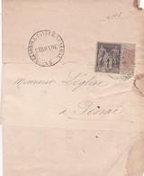 T.P Sage II N°83 Trésorerie Générale Bordeaux>Plessé 1892 - 1876-1898 Sage (Type II)
