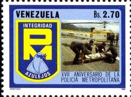 City Police, 25th Anniversary, Emergency Medical Aid, Helicopter, Venezuela SC#1379a MNH - Venezuela