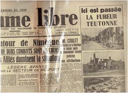 28 Septembre 1944 L Homme  Libre    Oradour Sur Glane - Newspapers