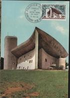 FDC54 - FRANCE N°1435 Chapelle De Ronchamp Sur Carte Maximum 1965 - Cartes-Maximum