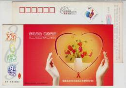 China 2004 Fujian Office Of Prevent AIDs Advertising Postal Stationery Card Campaign Slogan Women Girl And HIV AIDs - Disease