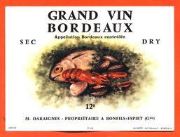étiquette Ancienne De Grand Vin De Bordeaux Sec M Daraignes à Bonfils Espiet - 75 Cl - Poissons - Crustacés - Bordeaux