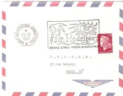 PORTE HELICOPTERES JEANNE D'ARC  FLAMME ILLUSTREE 1969 ILE RODRIGUEZ - Marcophilie (Lettres)