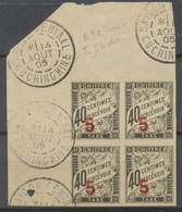 Colonie Française INDOCHINE BLOC De 4 Obl TAXE N°2 5 Sur 60 C Signé Calves P5034 - Indochina (1889-1945)