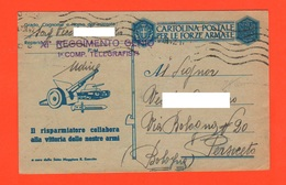 Udine Franchigia XI°Genio Telegrafisti Posta Militare 1942 X Persiceto Motto - Figurata - 1900-44 Vittorio Emanuele III