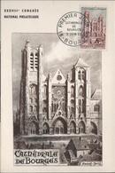 FDC57 - FRANCE N°1453 Cathédrale De Bourges Sur Carte Maximum 1965 - 1960-69