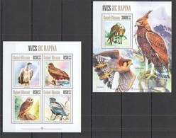 TT021 2013 GUINE GUINEA-BISSAU FAUNA BIRDS  EAGLE OWL AVES DE RAPINA 1KB+1BL MNH - Aigles & Rapaces Diurnes