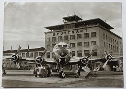 CPSM AK Allemagne Flughafen Stuttgart Aéroport Avion En Gros Plan 1958 Compagnie KLM - Stuttgart